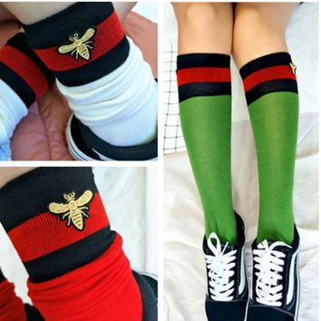 """Gotopfashion Red and black striped bee embroidery In tube socks Socks and knee socks"""""""