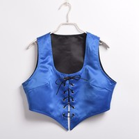 1pc Reversible Lace Up Corset Vest Medieval Pirate Wench Bodice Sexy Costume Dress Up