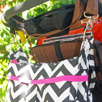 LARGE Black and White Chevron Diaper Bag with O-Rings Hot Pink stripe and Lining