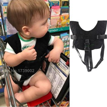 Baby Flight Vest Travel Harness Train Car Safety Vest Shopping Cart Trolley Cover (Black)