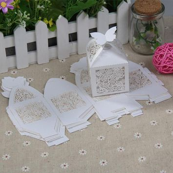 10Pcs/set Rose Paper-cut  Party Wedding Hollow Carriage Baby Shower Favors Gifts Candy Boxes Free Shipping