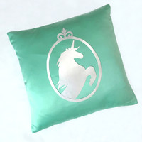 Custom Your Color. Silver Unicorn Mint Decorative Pillow Cover Fairy Tale Cushion Cover. Mint And Silver Pillow Case. Girls Room Decor