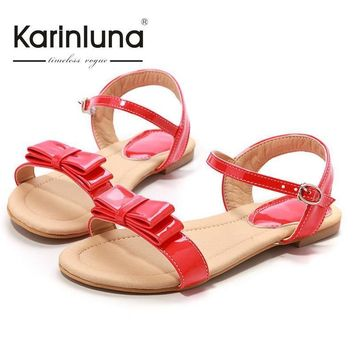 Big size 33-43 Rome style Ankle Straps Sandals Fashion Sweet bowtie Summer Shoes Flat