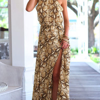 New Fashion snake print chiffon dress women spaghetti straps high split maxi dress