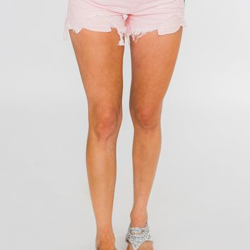 C'est Toi Distressed Shorts- Light Pink