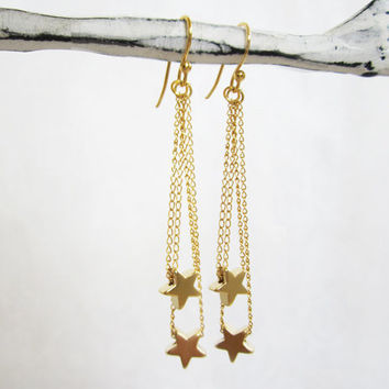 Tiny Gold Star Earrings on gold filled Chain/Ear wire.  Wedding, Bridesmaid gifts, fashion