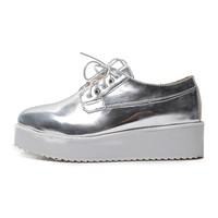 Enamel Shining Platform Shoes