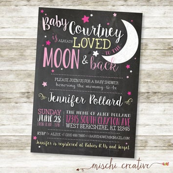"Love You to the Moon and Back Chalkboard Baby Girl Shower DIY Printable Invitation in Pink and Soft Yellow, 5"" x 7"""