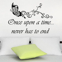 Wall Decals Butterfly Quotes Vinyl Sticker Decal Quote Once upon a time C398