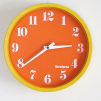 Vintage Mod Wall Clock Yellow/Orange Space Age Pop Verichron Kartell Panton
