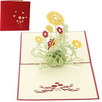 Flower 3D Laser Cut Pop Up Paper Holiday Handmade mothers day Post Cards Custom Greeting Cards 3D Wedding Birthday Gifts