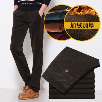 New Winter 2017 High-quality Goods Cotton Warm Thick Corduroy Straight Men's Pure Color Casual Pants Male Leisure Slim Trousers