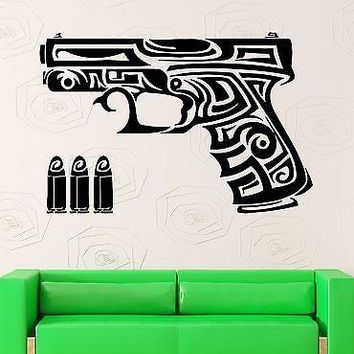 Wall Stickers Gun Chucks Bullets Weapons Tribal Tattoo Vinyl Decal Unique Gift (ig864)