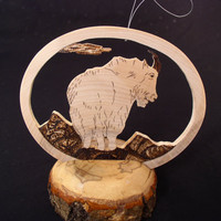 Pyrographed Ornament -  Mantle Decoration - BIRCH MOUNTAIN GOAT
