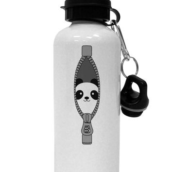 Funny Panda Peeking Out of Zipper Aluminum 600ml Water Bottle by TooLoud