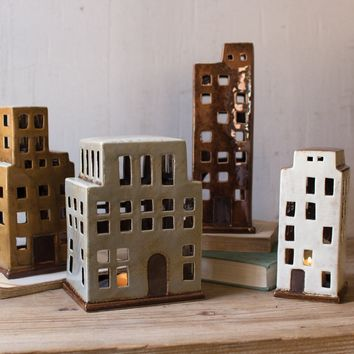 Set Of 4 Ceramic Buildings Candle Holders