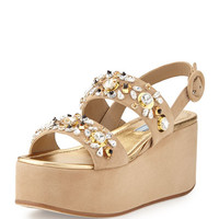 Prada Jeweled Two-Band Suede Platform Sandal, Cammeo