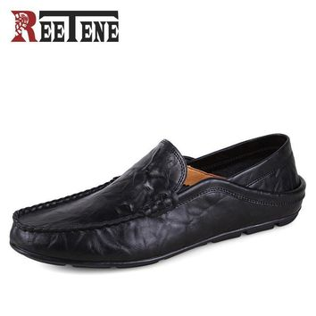 REETENE Casual Driving Shoes Men Genuine Leather Loafers Men Shoes Winter Men Loafers