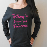 Disney's Forgotten Princess Eco Fleece Sweatshirt. Disney Princess Gym Sweatshirt. Off Shoulder Sweatshirt. Raw Edge Off Shoulder Eco-Fleece