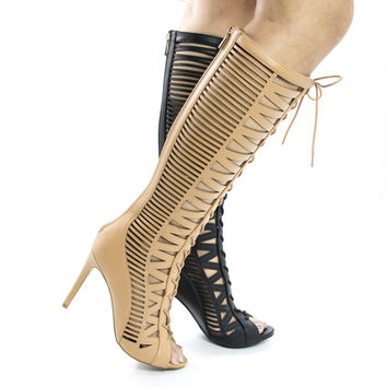 Onelove23S By Anne Michelle, Knee High Corset Lace Up Caged Stiletto Heel Boots
