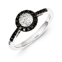 Sterling Silver Black and White Diamond Halo Ring