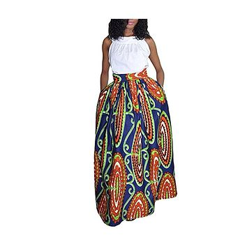 Women's African Print Knee Length Flare Skirts With Pockets, Blue Multi-Color, Sizes Small - XLarge