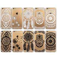 I6 Black and White Floral Paisley Flower Mandala Case Cover For Apple iPhone 6 6s Case Retro Luxury Fashion Case Cover