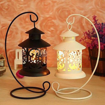 Iron Moroccan Style Candlestick Candleholder Candle Stand Light Holder Lantern white and Black