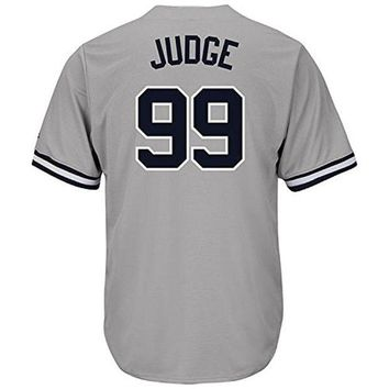 DCCKW7H Nighty's Shop Mens #99 Aaron_Judge Home Grey Player Stitched Baseball Jerseys