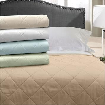 Veratex Home Indoor Bedroom Supreme Stn 300Tc Blanket Coverlet King Taupe