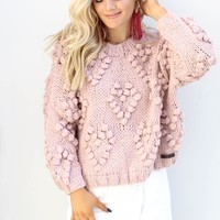 SZ L Unwritten Mauve Chunky Pom Heart Sweater