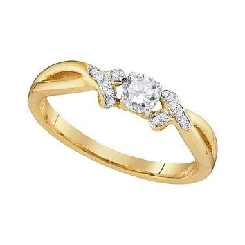10kt Yellow Gold Women's Round Diamond Solitaire Twist Bridal Wedding Engagement Ring 1/3 Cttw - FREE Shipping (US/CAN)