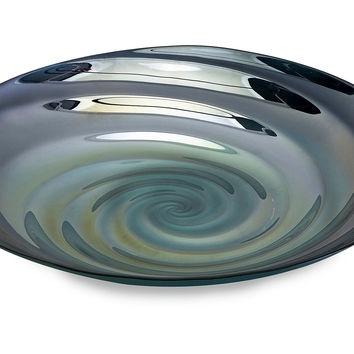 "18"" Rippled Glass Bowl, Blue, Decorative Trays"