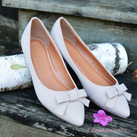 SZ 5.5 Miss Perfect Suede Taupe Bow Flats