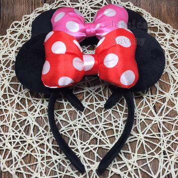 New Big Minnie Headband Cute Ear Hairband Minnie Mouse Kids Halloween Christmas Party Headwear Travel Hair Accessories
