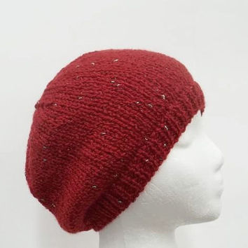 Red knitted sparkle beanie hat   5252