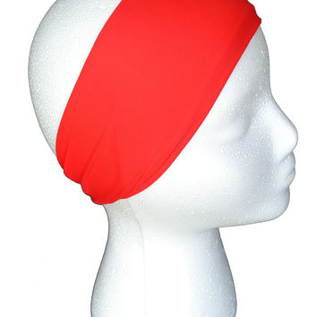 Simple True Red Spandex Headband