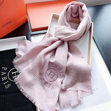 Hermes Fashion Women Embroidery Cashmere Scarf Shawl Scarves Accessories Pink