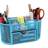 Mesh Desk Organizer Office Supplies Caddy Pen Holder Card Case Organizer Storage Box,Drawer Blue