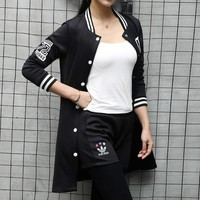 Adidas Women Fashion Casual Cardigan Jacket Coat Shorts Set Two-Piece