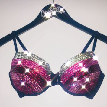"""Pink Mix & Crystal """"Triple Threat"""" T-Shirt Bra Style 1 In Black"""