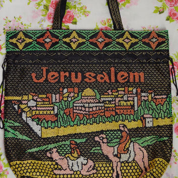 90s Tote Bag Vacation Jerusalem Camel Beaded Soft Grunge Beach Hipster Drawstring Purse Pastel Funky Women Vintage Clothing and Accessories
