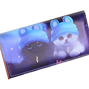 Cats with Blue Hats on a Fold Over Snap Wallet (zipper, Cards, 5 Compartments)