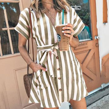 Spring and summer new European and American women's striped deep V strap dress