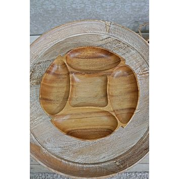 Vintage Hand Carved  Wood Snack Tray