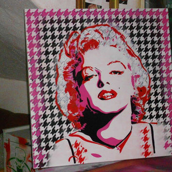 custom marilyn monroe painting in your choice of colours and style,28 by 28 inch canvas,stencils & spraypaints