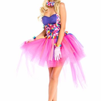 Halloween Sexy Fantasy Clown Dress Funny Circus Fairy Princess  Cosplay Costumes For Women Carnival party  Rainbow Dress Adult