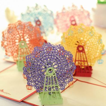 Kawaii Handmade 3D Ferris Wheel Origami 3D Pop Up Paper Laser Cut Vintage Post Cards Greeting Cards Happy Birthday Gifts Kraft