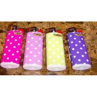 Lot of 4 Bic Fashionista Series Polka Dots Mini Lighters Limited Edition