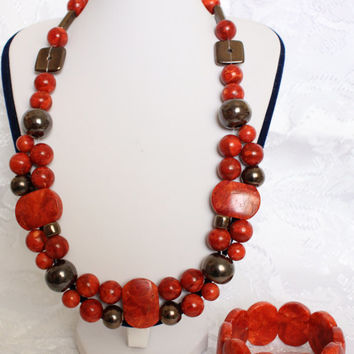 Art Deco Coral Unique Christmas Gift for Her Wife Mother Daughter Grandma Friend Birthday Gift Christmas Necklace Bracelet Set Jewelry